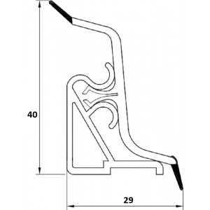Плинтус LB-40 Алюминиевая рябь